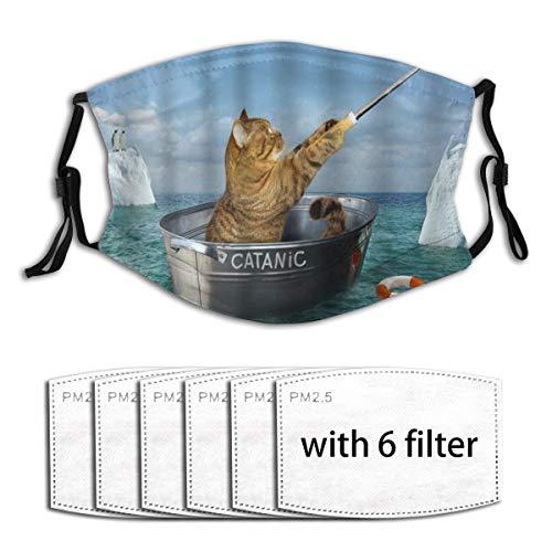SIONOLY Gesichtsbedeckung Katze Haustier Tiere Macht Bilder selbst Waschwanne auf See in der Nähe von Eisbergen Sturmhaube Winddichte Anti-Staub-Mund Bandanas Halsmanschette mit 6 Filtern