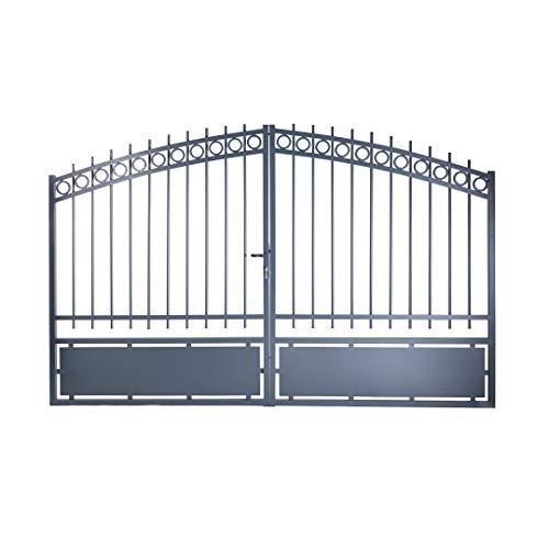 Portail double battant Onyx aluminium gris - passage 3m