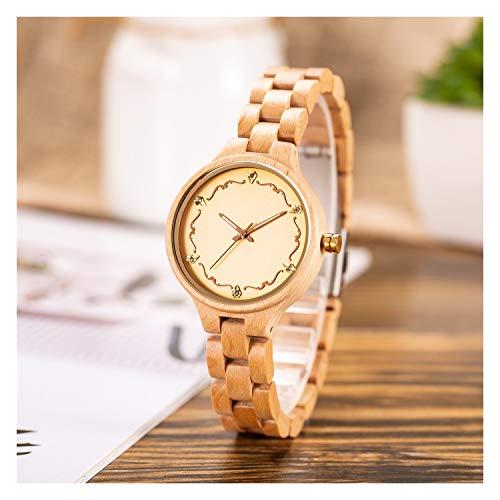 Orologio da uomo Reloj de Madera - Tendencias Creativas de la Industria - Saludable, Reloj de Arce Natural Puro, Respetuoso con el Medio Ambiente, cálido y romántico, for los más Queridos (Color : A)