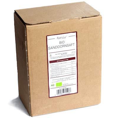 3 Liter BIO Sanddornsaft naturtrüb - 100% Direktsaft aus BIO Sanddornbeeren, Sanddorn Muttersaft ohne Zusätze - Sanddorn BIO Saft in praktischer Saftbox
