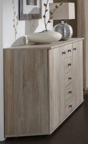 Wimex Kommode Chalet, 2 Türen, 4 Schubladen, (B/H/T) 130 x 82 x 38 cm, Eiche sägerau-Nachbildung