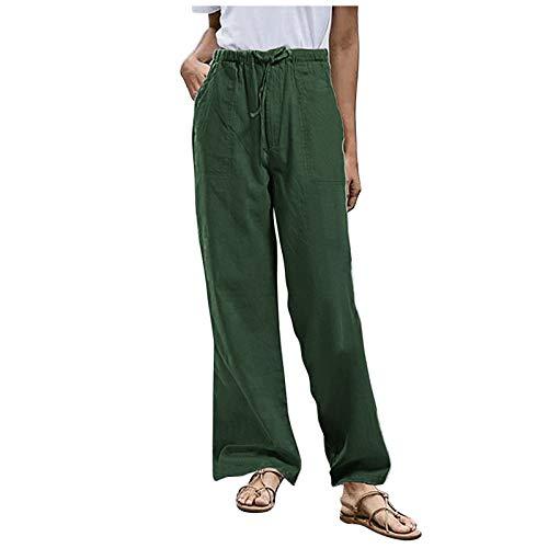 L9WEI - Pantalones de verano para mujer, de lino, de cintura alta, informales, para correr, para el tiempo libre, para la playa, de un solo color, con bolsillos y cordón, Mujer, verde, medium