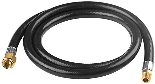 SHINESTAR 5Ft Propane Hose Assembly with 1/4inch Male Pipe Thread x 3/8inch Female Flare for Fish Cooker, Smoker and More, High Pressure