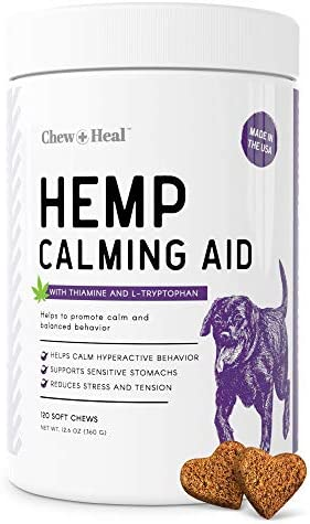 Chew Heal Calming Dog Anxiety Supplements with Hemp 120 Soft Chew Treats Fireworks Travel and product image