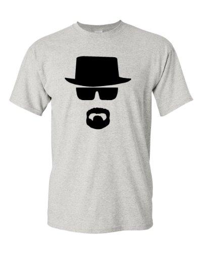 Heisenberg W. White Face Adult T-Shirt Tee (X-Large, Grey)
