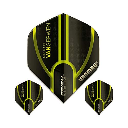 Winmau Prism Alpha Pro Player Michael Van Gerwen Dart Flights, MvG Green 143, 100 Micron Extra Strong (1 Set)