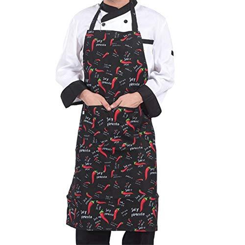 Masterchef Ajustable ajustable Adulto Delantal delantal Restaurante Chef Camarero delantal Cocina delantal delantal con 2 bolsillos (Color : B)