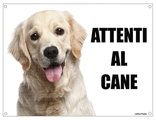 GOLDEN RETRIEVER attenti al cane mod 1 TARGA cartello IN METALLO (15X20)