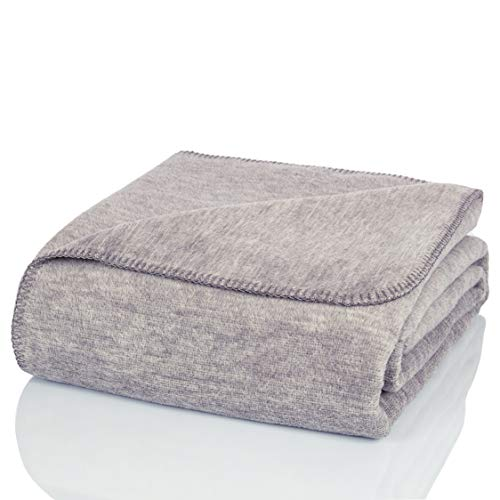 Glart - Manta de lana suave y gran capacidad térmica, mullida felpa para acurrucarse o cubrir el sofá, 130 x 170 cm, gris jaspeado