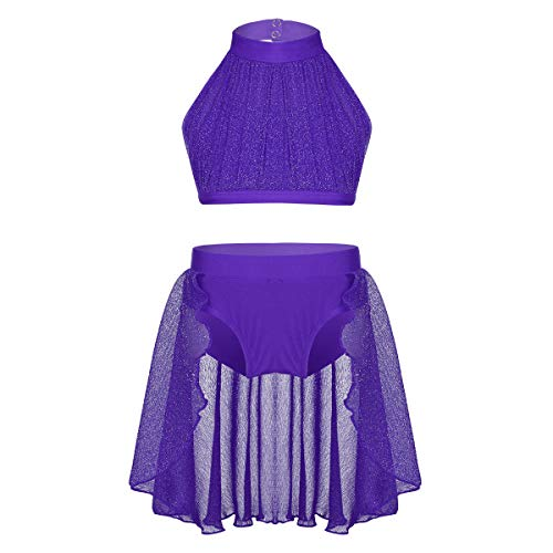CHICTRY Kids Girls Dance Mock Neck Crop Tops with Hi Lo Skirt set Lyrical Modern Dancewear Costumes Purple 10 12 Years