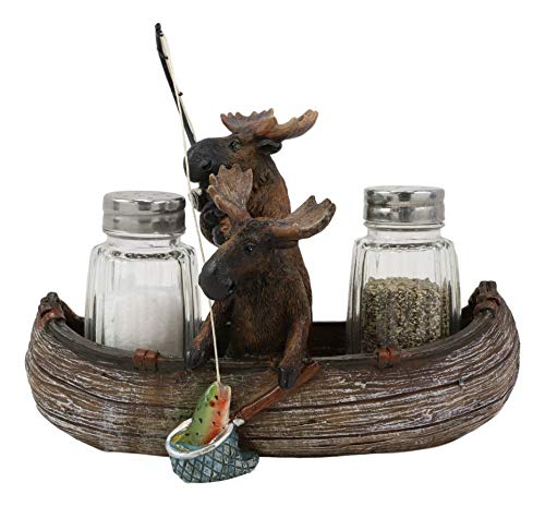 Ebros Gift 7' Wide Whimsical Rustic Forest 2 Elk Moose Siblings Fishing Bass With Net And Rod In Canoe Boat Glass Salt And Pepper Shakers Holder Statue Kitchen Dining Table Centerpiece Figurine
