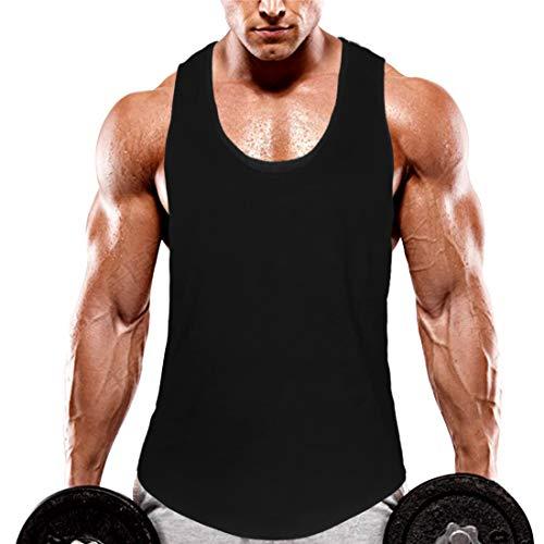KingJoze Men's Stringers Bodybuilding Tank Tops Sleeveless Muscle Shirts Yoga Fitness Vest (Black, Medium)