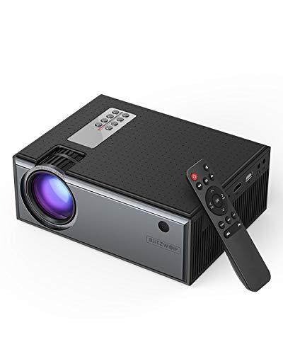 Mini Beamer, BlitzWolf Projektor Tragbarer Videoprojektor Unterstützt 1080P Full HD mit Fernbedienung, 50000 Stunden Heimkino kompatibel mit TV-Box, PS4, HDMI, VGA, AV, USB, Laptop, DVD