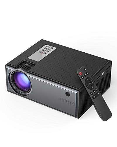 Proiettore 2800 Lumen, BlitzWolf Mini Videoproiettore Portatile con Telecomando, Supporto1080P, HD Proiettore Film per Home Theater, Compatibile con TV Box, PS4, HDMI, VGA, AV, USB, Laptop, DVD