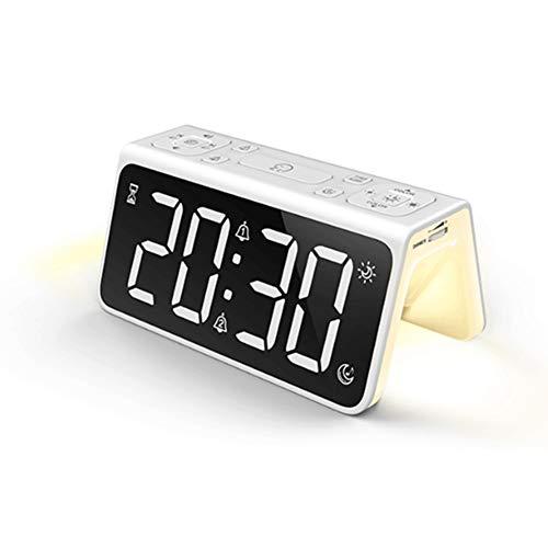 Reloj Despertador Digital, LED Pantalla Reloj Alarma Inteligente con Temperatura, Puerto de Carga USB, 12/24 Horas,Brillo Ajustable, Función Snooze y Alarma de Espejo Portátil