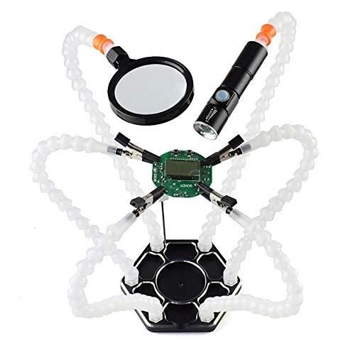 Wfaanw Estación de soldadura 1pcs Tercer Pana Mano con 6 piezas de las manos amigas USB recargable y aparatos de soldar lupa linterna (blanco)