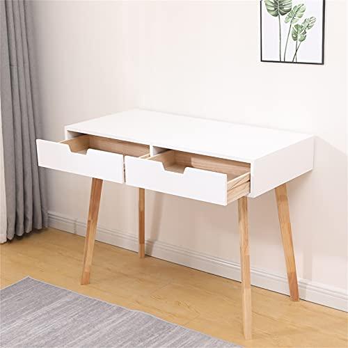 Poazmron Escritorio blanco con 2 cajones, escritorio para ordenador de pequeñas dimensiones, escritorio para casa, oficina, estudio, salón, dormitorio, 100 x 48 x 76 cm