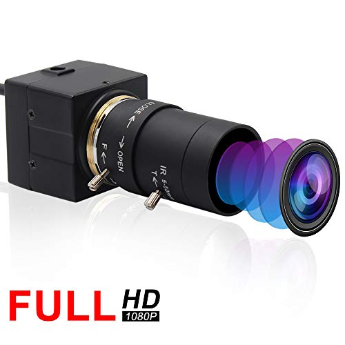 ELP 1080P Webcam HD 5-50mm Variable Fokus Objektiv Kamera USB,Mini Zoom Web Kamera unterstützt 640x480@100fps,weitwinkel videokonferenz Kamera für Mac/Android/Windows/Raspberry USBFHD01M-SFV(5-50)