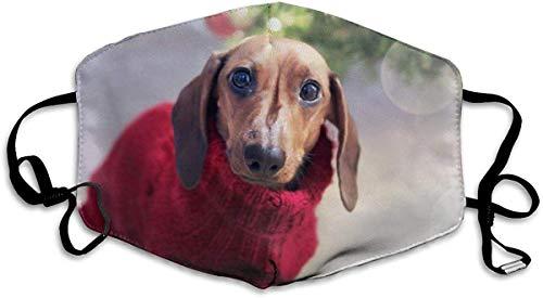 Kerstmis Dachshund Hond Het dragen van een Rode Trui Xmas Gooi Anti Stof Gezicht Masker Herbruikbare Warm Winddichte Mond