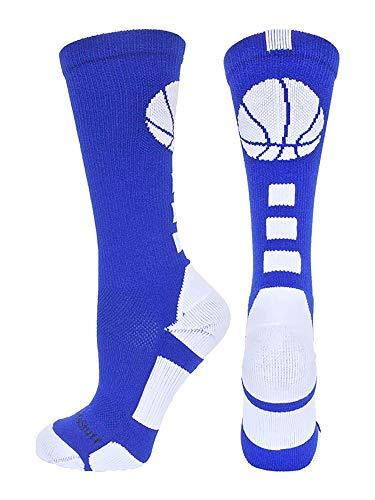 MadSportsStuff Basketball Logo Athletic Crew Socks, Medium - Royal/White