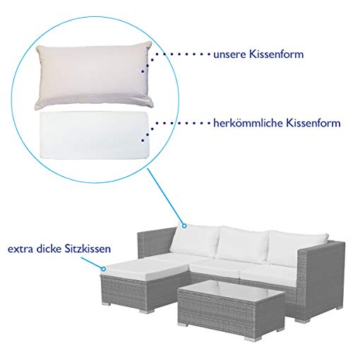 SVITA Queens 2020 Poly Rattan Sitzgruppe Couch-Set Ecksofa Sofa-Garnitur Gartenmöbel Lounge Schwarz, Grau oder Braun (Schwarz) - 4