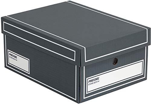 Pressel® Archivbox, Wellpappe, mit Deckel, A4, 25,5 x 35 x 15,5 cm, anthrazit (10 Stück), Sie erhalten 1 Packung á 10 Stück
