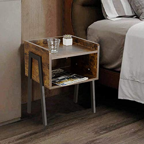 DIMAR GARDEN End Table, Nightstand Side Table with Open Drawer Home Table for Living Room, Bedroom