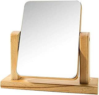 Desktop Mirror, European Mirror Simple Solid Wooden Dressing Mirror Portable Wooden Desktop Mirror Folding HD Beauty Mirror