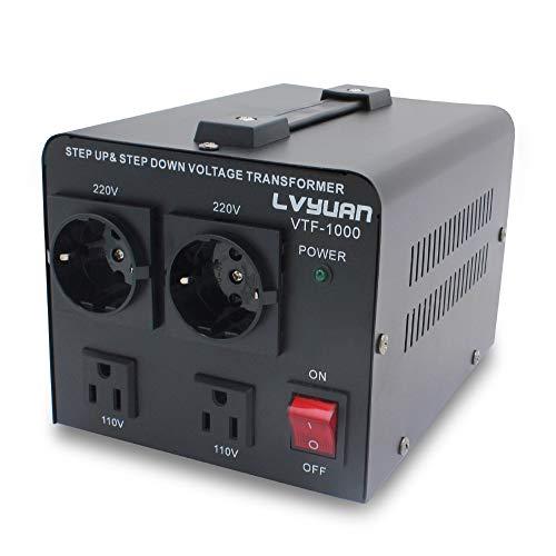 Yinleader VTF-1000 - Transformador Elevador/Reductor de Voltaje de 1000 Vatios EE.UU. - Convertidor de Energía de 220 Voltios - 220V / 110V 1000W Estabilizador de Voltaje automático