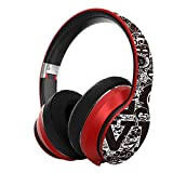 ZKUROZOXY B1 Headphones Bluetooth Headphones with Microphone Over Ear Deep Bass Wireless Headphones, Comfortable Protein Earpads, w/Built-in Mic Wired Mode PC Cell Phones TV (Red)