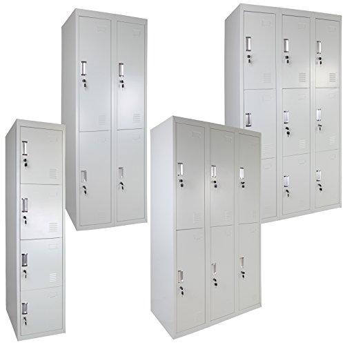 Spind Schließfachschrank Metallschrank Mehrzweckschrank Umkleideschrank Garderobenschrank ; Grau-Grau / 9 Fächer