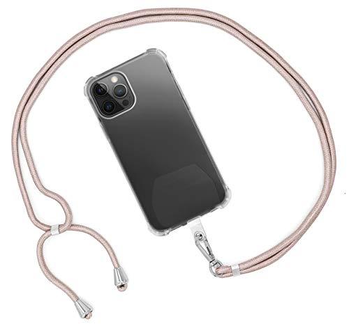 MyGadget Cordón Universal para Apple iPhone 12 Mini Pro X XR XS MAX/Huawei P30 Lite P20 / Samsung Galaxy S10 Plus S9+ A40 / Xiaomi Mi 9 Redmi Note 7 - Rosa