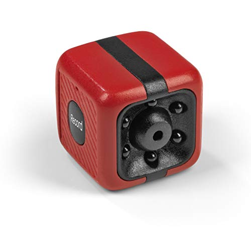 EASYmaxx Mini-Kamera mit Speicherkarte | Nachtaufnahmen | Akkubetrieben, Bewegungsmelder | 2,5 x 2,5 x 2,5 cm [Rot/Schwarz, inkl. Speicherkarte]