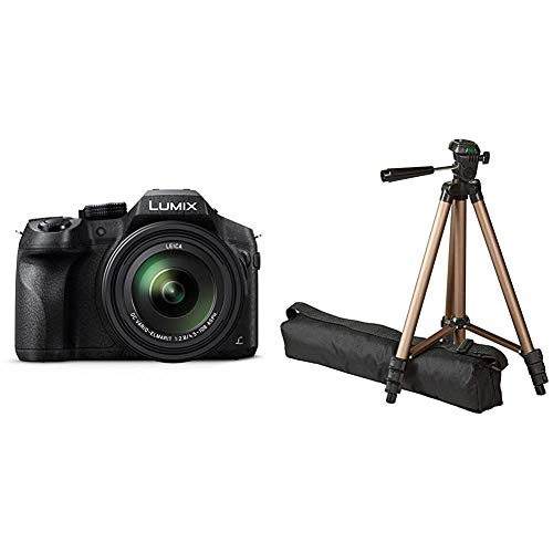 Panasonic LUMIX DMC-FZ300EGK Premium-Bridgekamera (12 Megapixel, 24x Opt. Zoom, Leica DC Weitwinkel-Objektiv, 4K Foto/Video) schwarz & AmazonBasics Dreibein Stativ 127 cm leicht mit 3-Wege Kopf