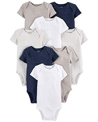 Simple Joys by Carter's Baby 8-Pack Short-Sleeve Bodysuit, Navy Heather/White/Oatmeal, 24 Months