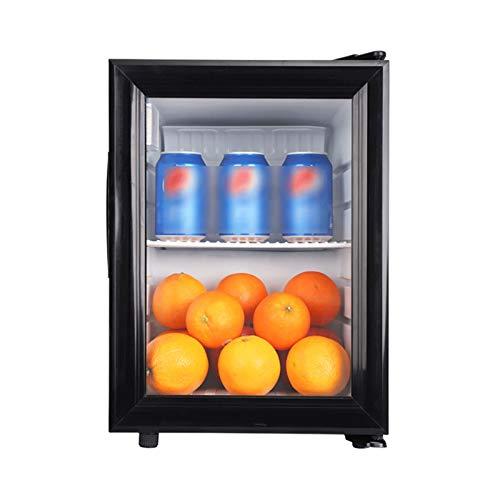 LJJOO Refrigerador de Bebidas 21L y refrigerador de encimera de refrigerador con estantes extraíbles Ajustables y Puerta de Vidrio para Cerveza, Vino, Soda y Bebida (Negro) Frigoríficos Mini
