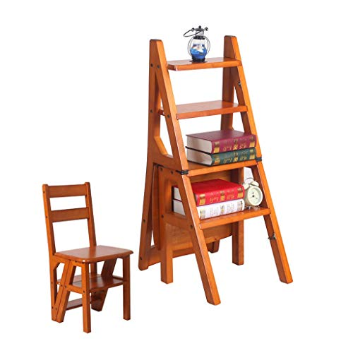 BENCONO Solid Wood Folding Ladder Stool Portable Stair Chair 4 Step Ladder Home Kitchen Bathroom Library Home Ladder Maximum Load 150kg