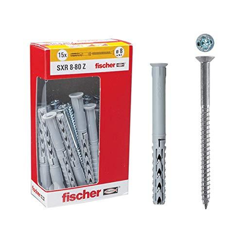 Fischer 509743 Tasselli Prolungati Sxr 8 X 80 Mm con Vite, Grigio
