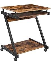 Vasagle Computertafel, bureau met structuur in Z-vorm, compact, eenvoudige montage, wielen met remmen, toetsenbordlade, studio, vintage-bruin en zwart
