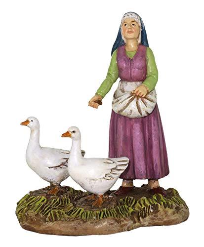 Ferrari & Arrighetti Nativity Scene Figurine: Shepherdess with Geese - Martino Landi Collection - 12 cm