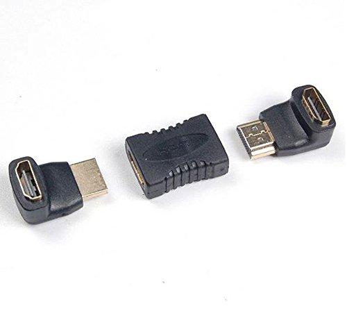 JBSTK HDMI Adapter Set (HDMI auf HDMI Kupplung Verlängerung/HDMI-Stecker auf HDMI-Buchse 270° Winkeladapter/HDMI-Stecker auf HDMI-Buchse 90° Winkeladapter)|VERGOLDETE Kontakte|1080p Full HD|Schwarz