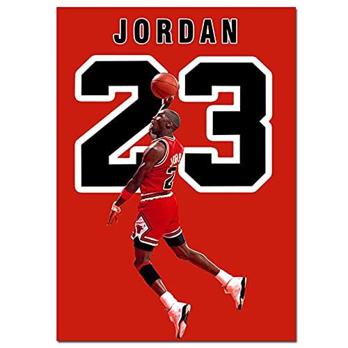 IFUNEW Cuadros Decorativos Lebron James Basketball NBA Star Pintura Decorativa Bulls Jordan 23 Lienzos e Impresiones 60x90cm