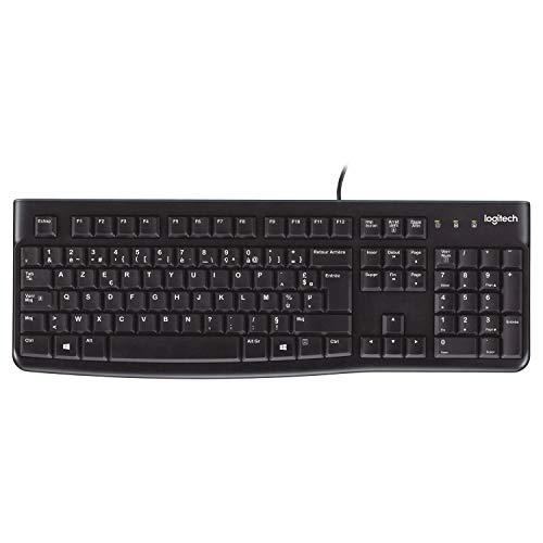 Logitech K120 Kabelgebundene Tastatur für Windows, USB-Anschluss, Leises Tippen, Robust, Spritzwassergeschützt, Einstellbare Tastaturaufsteller, Französisches AZERTY-Layout - Schwarz