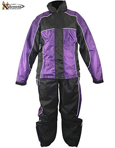 Xelement RN4764 Women's Black and Purple 2-Piece Motorcycle...