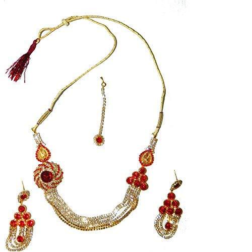 Bollywood conjunto joyas Yami rojo estructura dorada con bindis y brazaletes indios joyas set sari joyería accesorios