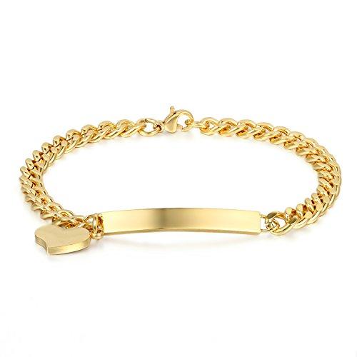 JewelryWe Schmuck Damen Armband Edelstahl Gold Link Panzerkette Charmsarmband Armkette mit Herz Anhänger