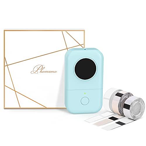 Phomemo D30 Bluetooth Tragbarer Etikettendrucker Geschenkset mit 3 Rollen Etiketten Etikettiergerät Etikettiermaschine für iOS and Android Handys Selbstklebende Etiketten Aufkleber Beschriftungsgerät