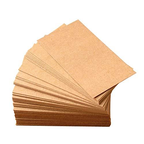 Blancs de cartes Kraft, rétro brun bricolage papier notes Cartes de visite Vocabulaire mot carte de message étiquettes de papier vierges 100 PCS