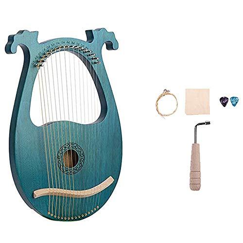 APXZC Lyre Harp, 16 Metallsaiten Mahagoni Lyra, mit Stimmhebel Schöne Klangqualität Deutlich sichtbare Linien Lasergravur, für Anfänger-Sets Tagesgeschenke für Kinder