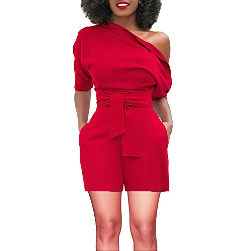 TOTOD Rompers for Women, Summer Sexy Off Shoulder Ruffle Shorts Fashion Short Sleeve Jumpsuits with Pockets(Red,XL)